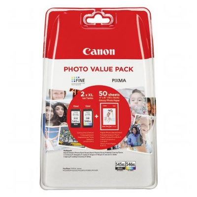 Canon eredeti tintapatron PG-545 XL/CL-546 XL + 50x GP-501, black/color, 8286B006, Canon Pixma MG2450, 2555, MX495, Promo pack