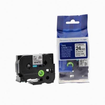 Brother TZ-FX251/TZe-FX251, 24mm x 8m, flexi, fekete nyomtatás / fehér alapon, kompatibilis szalag