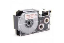 Casio XR-18WER 18mm x 8m piros nyomtatás / fehér alapon, kompatibilis szalag
