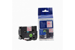 Brother TZ-252 / TZe-252, 24mm x 8m, piros nyomtatás / fehér alapon, kompatibilis szalag