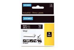 Dymo Rhino 1805437, 9mm x 5,5m, fehér nyomtatás / fekete alapon, eredeti szalag