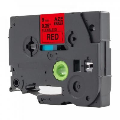 Brother TZ-FX421 / TZe-FX421, 9mm x 8m, flexi, fekete nyomtatás / piros alapon, kompatibilis szalag