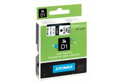 Dymo D1 45013, S0720530, 12mm x 7m fekete nyomtatás / fehér alapon, eredeti szalag