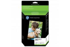 HP eredeti tintapatron Q7966EE, HP 363, color, 150 oldal, HP Set 6 kazet No.363 + Paper 10 x 15 cm, 150 listů, fekete v menší kapacitě, Pr