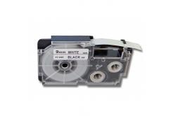 Utángyártott szalag Casio R5WE 9mm x 2,5m zsugorcső, fekete nyomtatás / fehér alapon