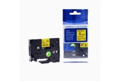 Brother TZ-611 / TZe-611, 6mm x 8m, fekete nyomtatás / sárga alapon, kompatibilis szalag