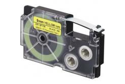 Casio XR-9FYW , 9mm x 8m, fekete nyomtatás /fluoreszkáló sárga alapon, utángyártott szalag