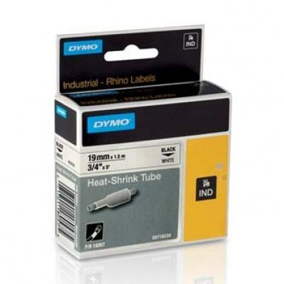 Dymo Rhino 18057, S0718330, 19mm x 1,5m fekete nyomtatás / fehér alapon, eredeti szalag
