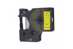Dymo 43618, S0720790, 6mm x 7m, fekete nyomtatás / sárga alapon, kompatibilis szalag
