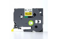 Brother TZe-V651, 24mm x 5,5m, fekete nyomtatás / sárga alapon, vinyl, kompatibilis szalag