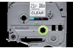 Brother TZ-131S / TZe-131S, 12mm x 4m, fekete nyomtatás / átlátszó alapon, eredeti szalag
