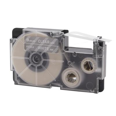 Casio XR-9AX, 9mm x 8m fekete nyomtatás / átlátszó alapon, kompatibilis szalag