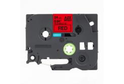 Brother TZ-FX451 / TZe-FX451, 24mm x 8m, flexi, fekete nyomtatás / piros alapon, kompatibilis szalag