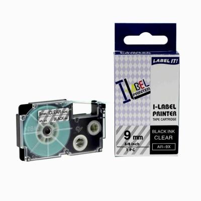 Casio XR-9X1, 9mm x 8m fekete nyomtatás / átlátszó alapon, kompatibilis szalag