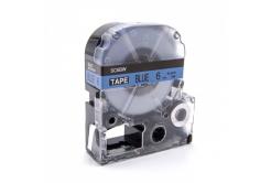 Epson LC-SC6BW, 6mm x 8m, fekete nyomtatás / kék alapon, utángyártott szalag