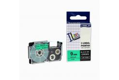 Casio XR-9GN1, 9mm x 8m fekete nyomtatás / zöld alapon, kompatibilis szalag