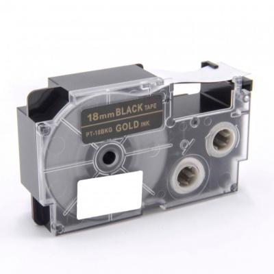 Casio XR-18BKG 18mm x 8m arany nyomtatás / fekete alapon, kompatibilis szalag