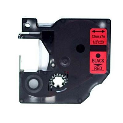 Dymo 45017, S0720570, 12mm x 7m fekete nyomtatás / piros alapon, kompatibilis szalag
