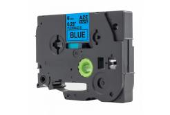 Brother TZ-FX511 / TZe-FX511, 6mm x 8m, flexi, fekete nyomtatás / kék alapon, kompatibilis szalag