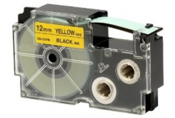 Casio XR-12YW1, 12mm x 8m, fekete nyomtatás / sárga alapon, eredeti szalag