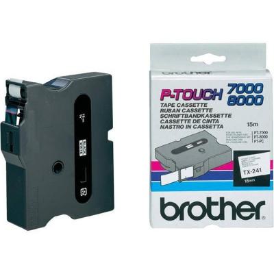 Brother TX-241, 18mm x 15m, fekete nyomtatás / fehér alapon, eredeti szalag