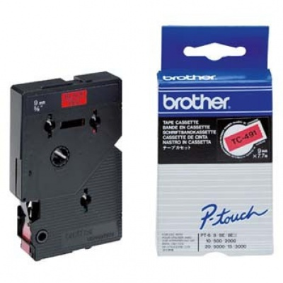Brother TC-491, 9mm x 7,7m, fekete nyomtatás / piros alapon, eredeti szalag