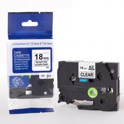 Brother TZ-FX141 / TZe-FX141, 18mm x 8m, flexi, fekete nyomtatás / átlátszó alapon, kompatibilis szalag