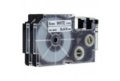 Utángyártott szalag Casio XR-6WE, 6mm x 8m fekete nyomtatás / fehér alapon
