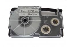 Casio XR-9SR1 9mm x 8m fekete nyomtatás / ezüst alapon, kompatibilis szalag
