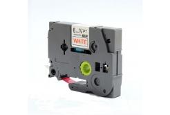 Utángyártott szalag Brother TZ-212 / TZe-212, 6mm x 8m, piros nyomtatás / fehér alapon