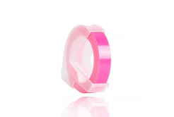 Dymo Omega, 9mm x 3m, fehér nyomtatás / fluoreszkálás rózsaszínű alapon, kompatibilis szalag