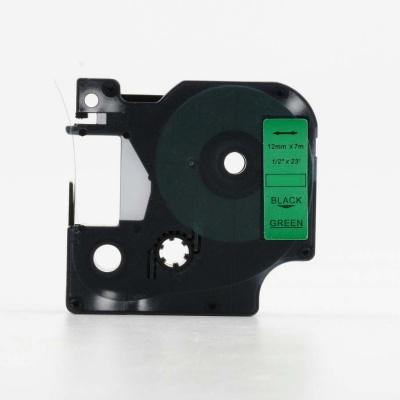 Dymo 45019, S0720590, 12mm x 7m fekete nyomtatás / zöld alapon, kompatibilis szalag