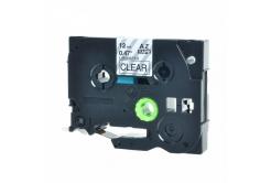 Brother TZ-131 / TZe-131, 12mm x 8m, fekete nyomtatás / átlátszó alapon, kompatibilis szalag