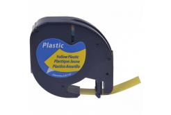 Dymo 59423, S0721570 / 91222, S0721670, 12mm x 4m, fekete nyomtatás / sárga alapon, kompatibilis szalag