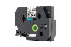 Brother TZ-FX151 / TZe-FX151, 24mm x 8m, flexi, fekete nyomtatás / átlátszó alapon, kompatibilis szalag