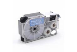 Casio XR-18ABU 18mm x 8m fehér nyomtatás / kék alapon, kompatibilis szalag