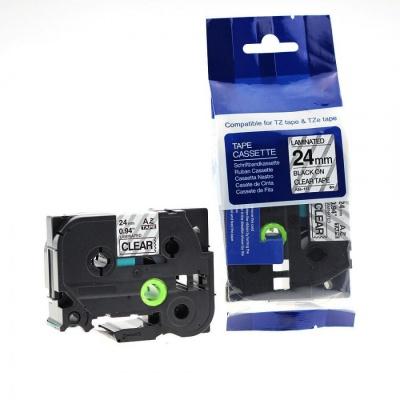 Brother TZ-151 / TZe-151, 24mm x 8m, fekete nyomtatás / átlátszó alapon, kompatibilis szalag
