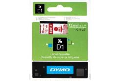 Dymo D1 45012, S0720520, 12mm x 7m, piros nyomtatás / átlátszó alapon, eredeti szalag