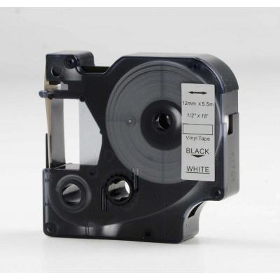 Dymo 18444, 12mm x 5, 5m fekete nyomtatás / fehér alapon, vinyl, kompatibilis szalag