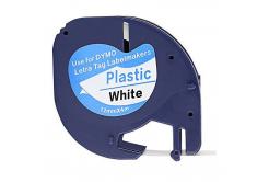 Dymo 59422, S0721560 / 91221, S0721660, 12mm x 4m, fekete nyomtatás / fehér alapon, kompatibilis szalag
