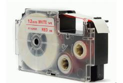 Casio XR-12WER 12mm x 8m piros nyomtatás / fehér alapon, kompatibilis szalag