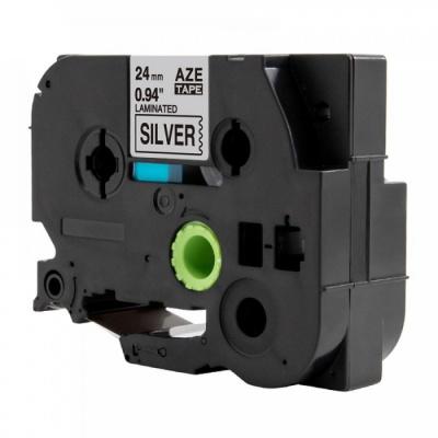 Brother TZ-951 / TZe-951, 24mm x 8m, fekete nyomtatás / ezüst alapon, kompatibilis szalag