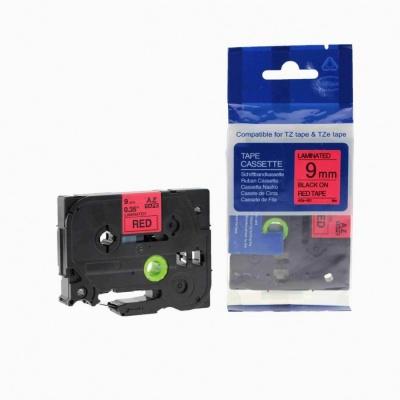 Brother TZ-421 / TZe-421, 9mm x 8m, fekete nyomtatás / piros alapon, kompatibilis szalag