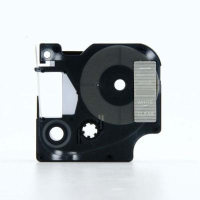 Dymo 45020, S0720600, 12mm x 7m fehér nyomtatás / átlátszó alapon, kompatibilis szalag