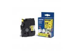 Brother TZ-FX651 / TZe-FX651, 24mm x 8m, fekete nyomtatás / sárga alapon, eredeti szalag
