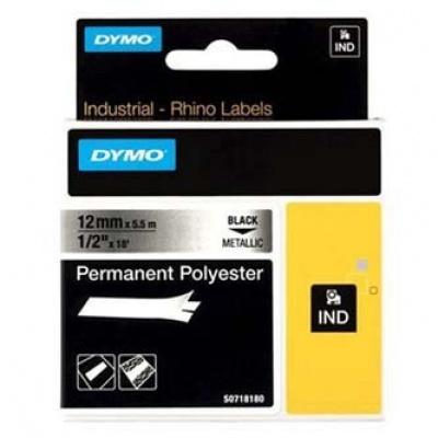 Dymo Rhino 18486, S0718180, 12mm x 5,5m fekete nyomtatás / fémes alapon, eredeti szalag