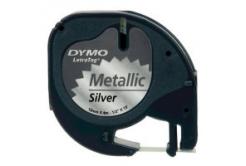 Dymo LetraTag 91208 S0721730 12mm x 4m fekete nyomtatás/ezüst alapon, femés, eredeti szalag