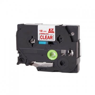 Brother TZ-142 / TZe-142, 18mm x 8m, piros nyomtatás / átlátszó alapon, kompatibilis szalag