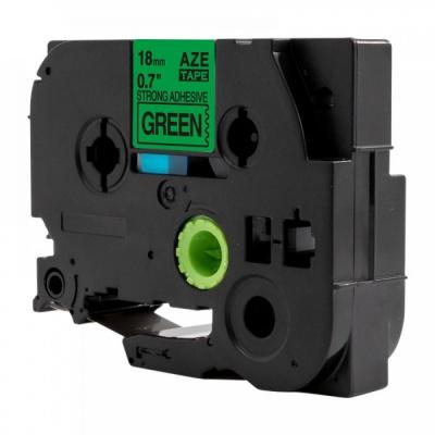 Brother TZ-S741 / TZe-S741, 18mm x 8m, extr.adh. fekete nyomtatás / zöld alapon, kompatibilis szalag