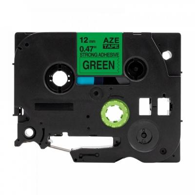 Brother TZ-S731/TZe-S731 12mm x8m erősen ragadó, fekete nyomtatás / zöld alapon, kompatibilis szalag